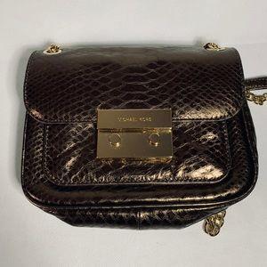 Michael Kors Sloan metallic python-effect bag
